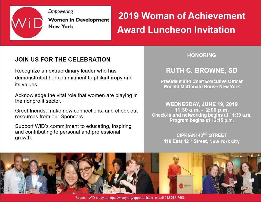 Women in development Woman of Achievement Award Luncheon Flier